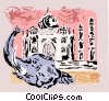 Vector Clipart graphic  of a Taj Mahal India with elephant