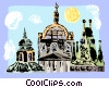 Vector Clip Art graphic  of a Church of St. Nicholas Prague