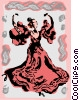 Vector Clipart picture  of a Spanish flamenco dancer