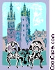 Towers of Mariacki Church Krakow Poland Vector Clipart graphic