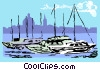 Vector Clipart illustration  of a Malta cityscape horizon with yachts
