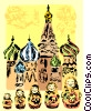 St. Basil's Cathedral and Matrioshka Dolls Vector Clip Art image