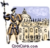 Vatican City, St. Peter's Square & St. Peter's Basilica Vector Clipart picture