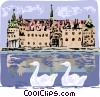 Frederiksborg Castle in Denmark with swans Vector Clipart illustration