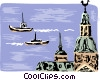 Vector Clip Art image  of a Norway harbor scene