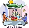 Vector Clip Art picture  of a Sukkot dinner in the sukka