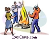 Vector Clipart graphic  of a Lag Ba'Omer Fire party
