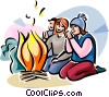 Vector Clip Art image  of a Lag Ba'Omer Fire party