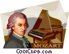 Vector Clipart graphic  of a Wolfgang Amadeus Mozart