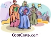 Vector Clipart graphic  of a 3 wise men Epiphany