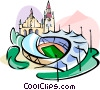 Vector Clipart graphic  of a Germany Munich Olympic stadium
