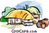 Vector Clipart illustration  of a Korean Choga straw-thatched