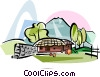 Vector Clipart image  of a Korea Choga house in Jeju