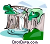 Korea Water fall in Jeju island Vector Clip Art image
