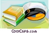 Swedish graduation cap with books and diploma Vector Clip Art image