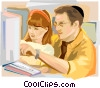 Jewish Shool Student with Teacher Vector Clipart image