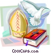 Bible, Dove and Papal Mitre Vector Clipart picture