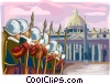 Swiss Guards at Vatican Vector Clipart illustration