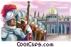 Vector Clip Art graphic  of a Swiss Guards at Vatican