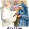 Vector Clipart picture  of a Pope John Paul II with nun