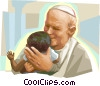 Pope John Paul II with child Vector Clipart graphic