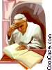Pope John Paul II reading Vector Clip Art image