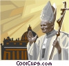 Vector Clip Art picture  of a Pope John Paul II blessing with cross