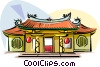 Vector Clipart illustration  of a Taiwanese Temple