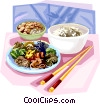 Korean boiled rice with four other staple cereals Vector Clipart illustration