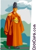 Traditional Korean clothing for King Choson Dynasty Vector Clip Art picture