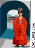 Vector Clip Art image  of a Traditional Korean clothing