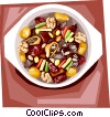 Korean Food beef rib stew Vector Clipart image