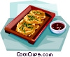 Vector Clipart picture  of a Korean Food Fried cake