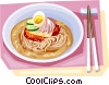 Korean Food Cold noodle Vector Clipart graphic