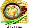Vector Clipart illustration  of a Korean Food ginseng chicken in