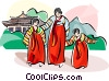 Traditional Korean rainbow-striped clothing Vector Clip Art picture