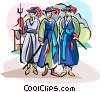 Vector Clip Art graphic  of a Traditional Korean Military uniform