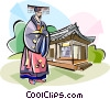 Traditional Korean clothing enthronement ceremony Vector Clipart image