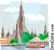 Wat Arun Temple in Thailand Vector Clipart picture