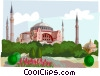 Vector Clipart graphic  of an Aia Sofia mosque Istanbul