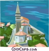 Vector Clip Art image  of a Slovenian seaside village