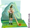 Bavarian boy in traditional costume with Alpenhorn Vector Clip Art graphic