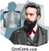 Vector Clipart illustration  of a German physicist Wilhelm
