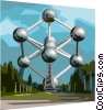 Vector Clipart graphic  of a Brussels Heysel Park Atomium