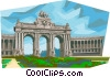 Brussels Cinquantenaire Arch Vector Clipart illustration