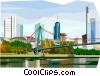 Vector Clip Art graphic  of a Frankfurt Skyline