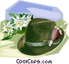 Tyrolean Hat with Edelweiss flowers Vector Clipart illustration