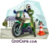 Vector Clip Art image  of a German Motorcycle Police