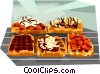 Belgium Waffles with a variety of toppings Vector Clipart illustration