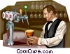 Brussels bar scene with waiter serving beer Vector Clip Art graphic
